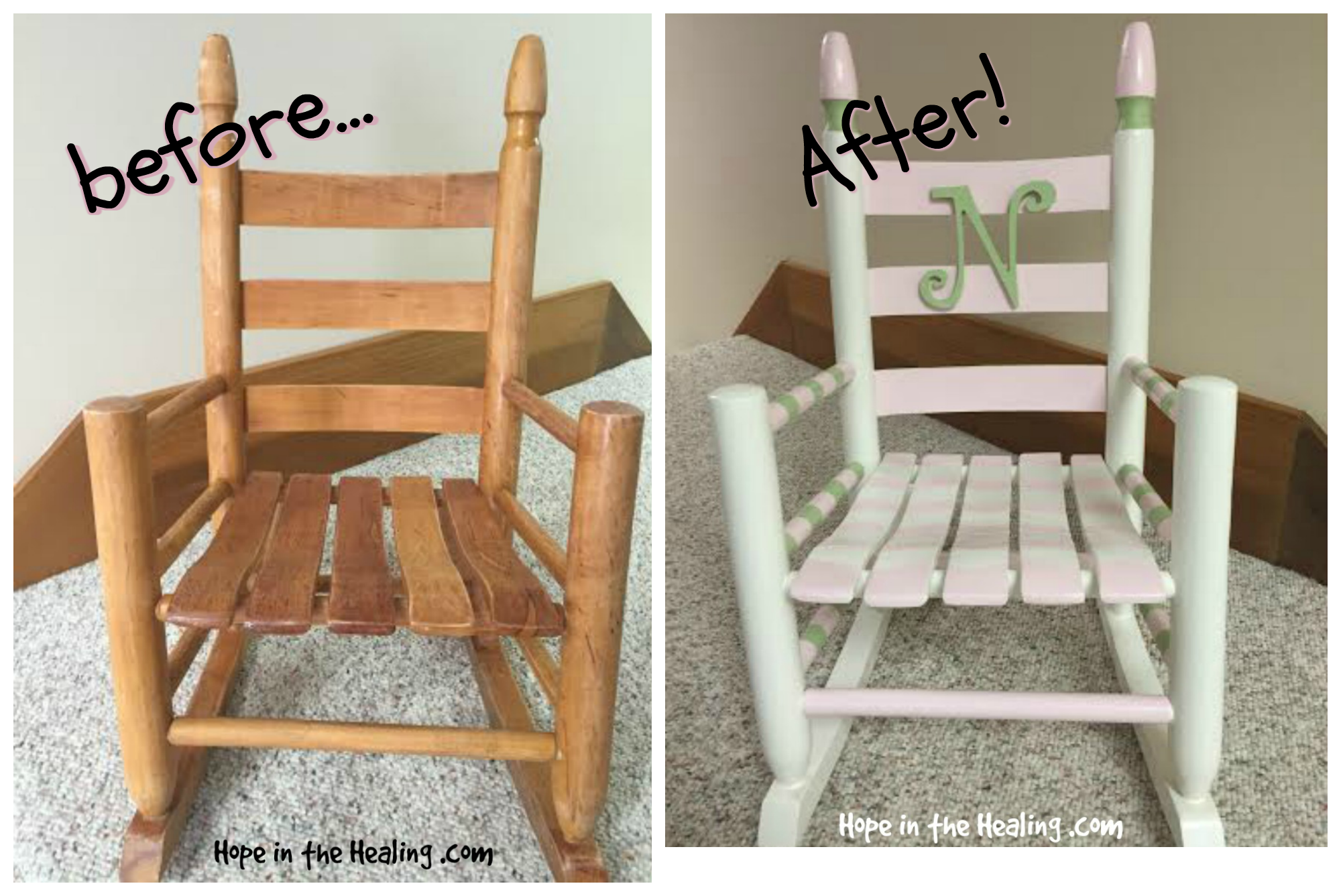 Vintage toddler rocking chair makeover Hope In The Healing With